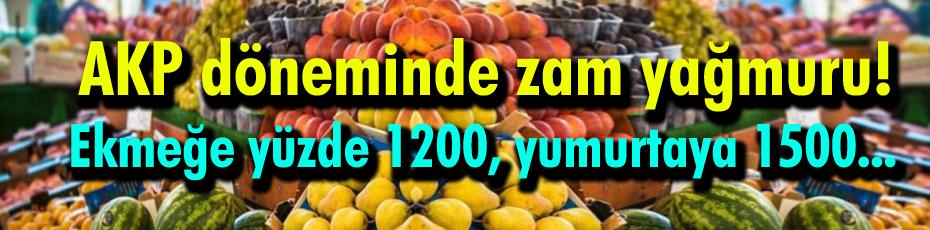AKP döneminde ekmeğe yüzde 1200, yumurtaya 1500 zam!