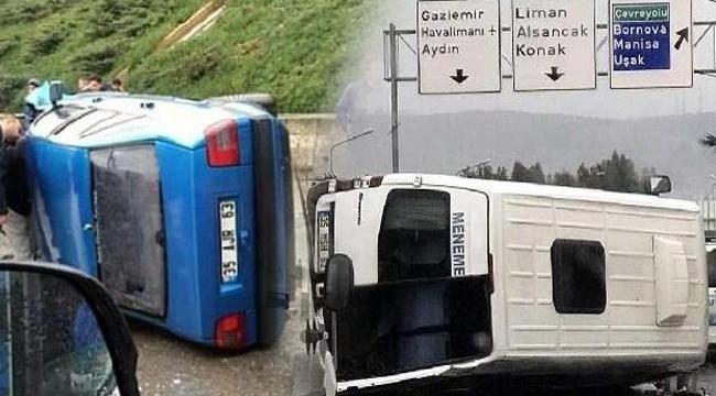 İzmir'de minibüs ve otomobil devrildi: 5 yaralı