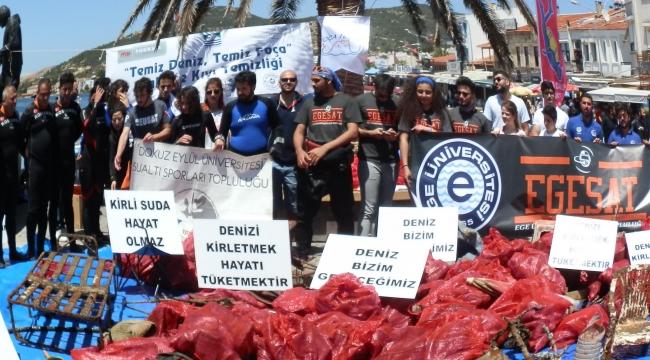 Foça'da deniz dibi temizliği: 1 tonu aşkın atık toplandı