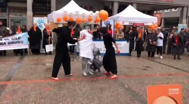 Bu kez şiddete uğrayan kadınlar için performans sergilediler