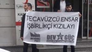 Kızılay'ın Ensar'a aktardığı bağışı protesto eden gençler gözaltına alındı