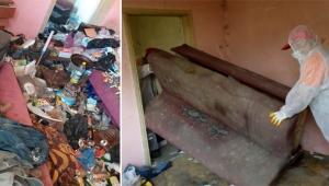 Bayraklı'da 30 metrekarelik evden 1.5 ton atık çıktı